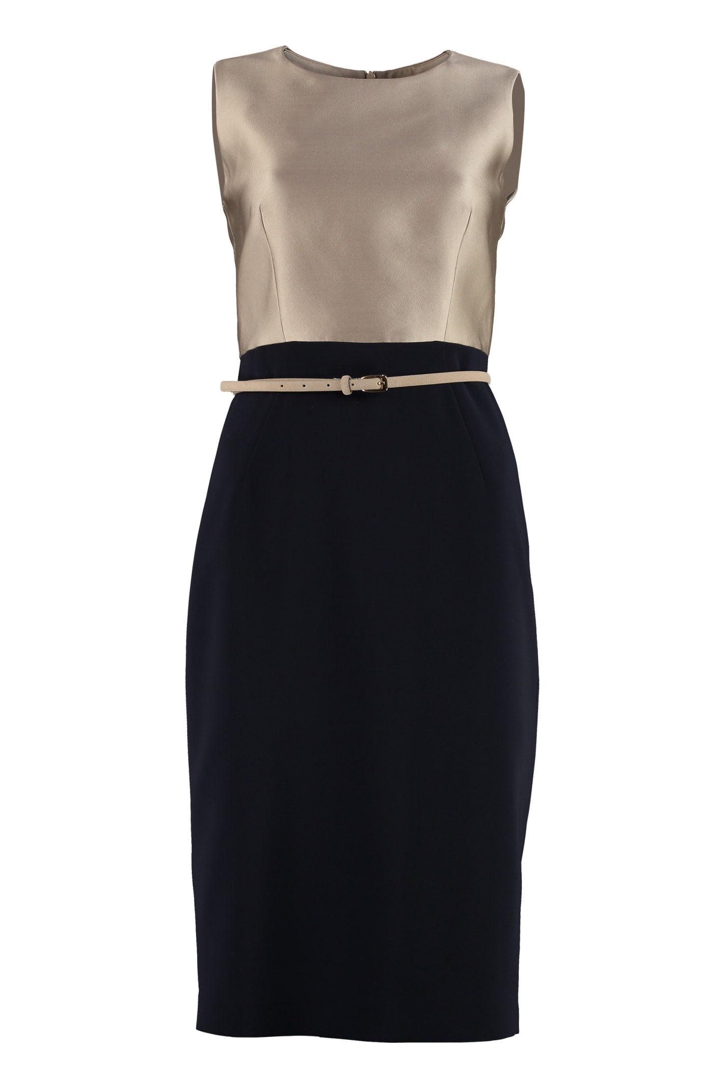 Max Mara Studio Fiorito Belted Sheath Dress