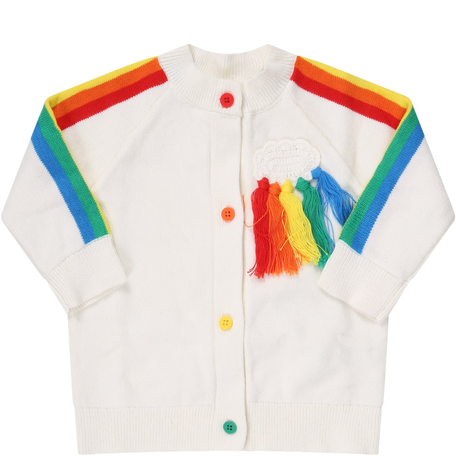 Stella Mccartney IVORY CARDIGAN FOR KIDS WITH CLOUD