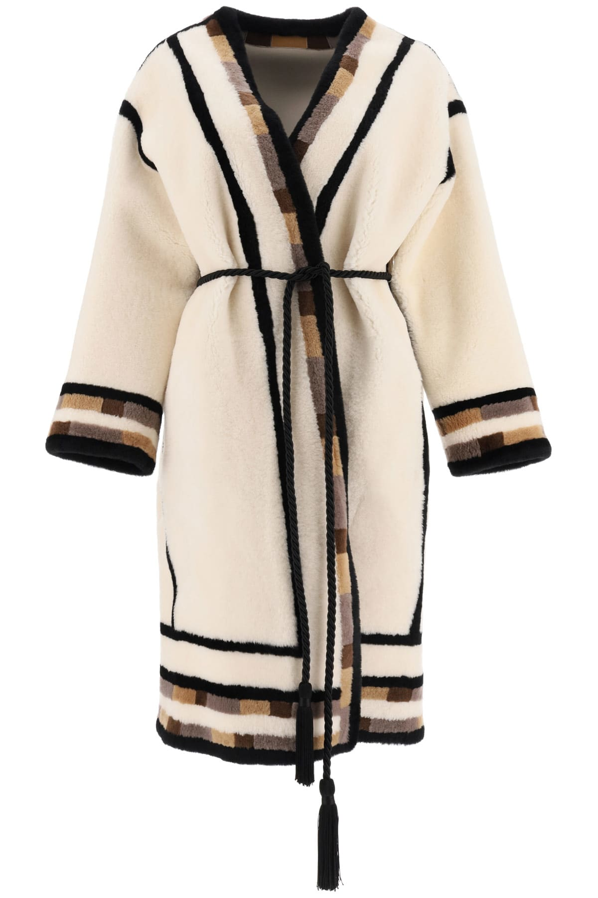 Reversible Shearling Coat With Inserts