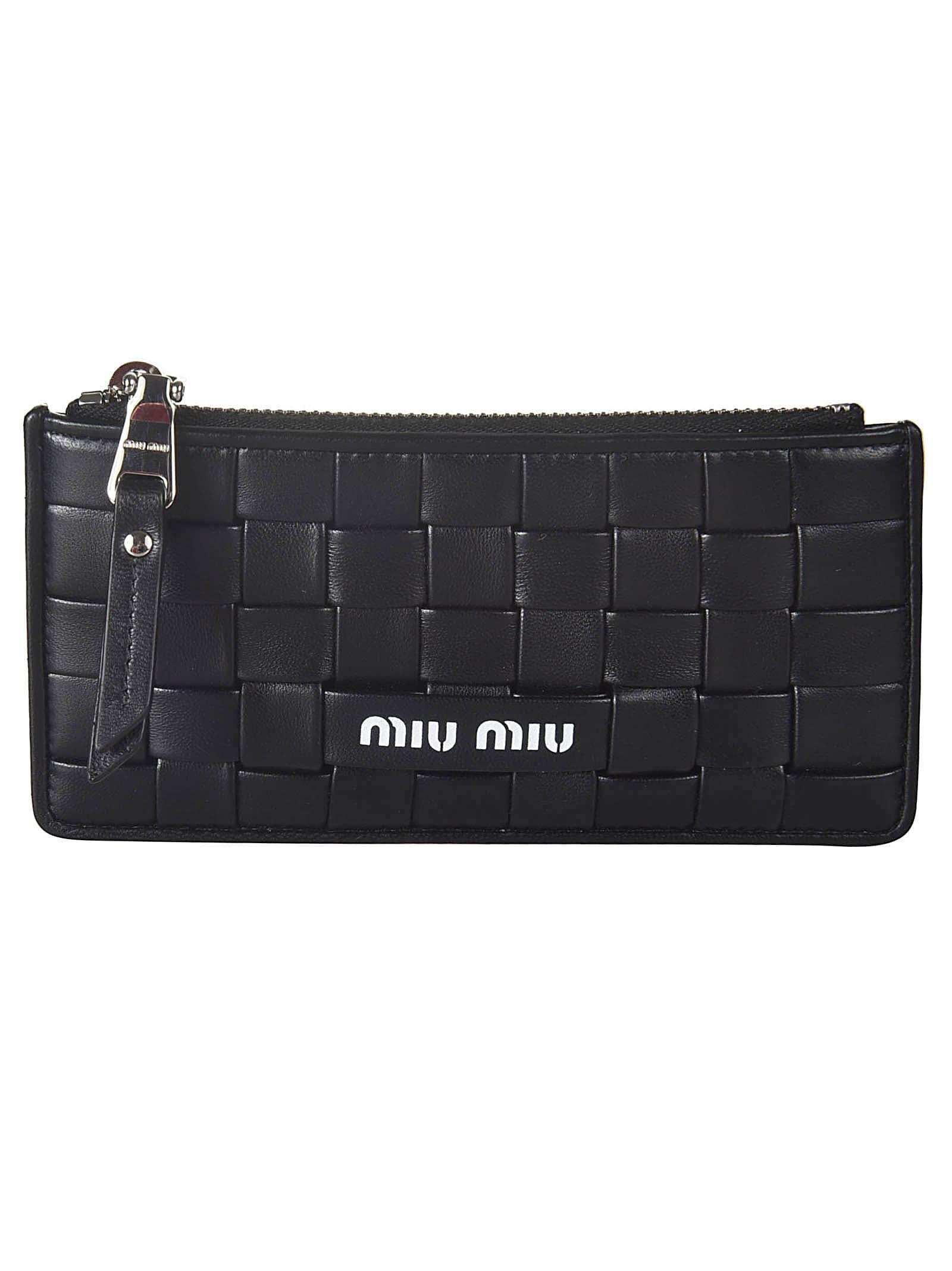 Miu Miu Zipped Woven Card Holder