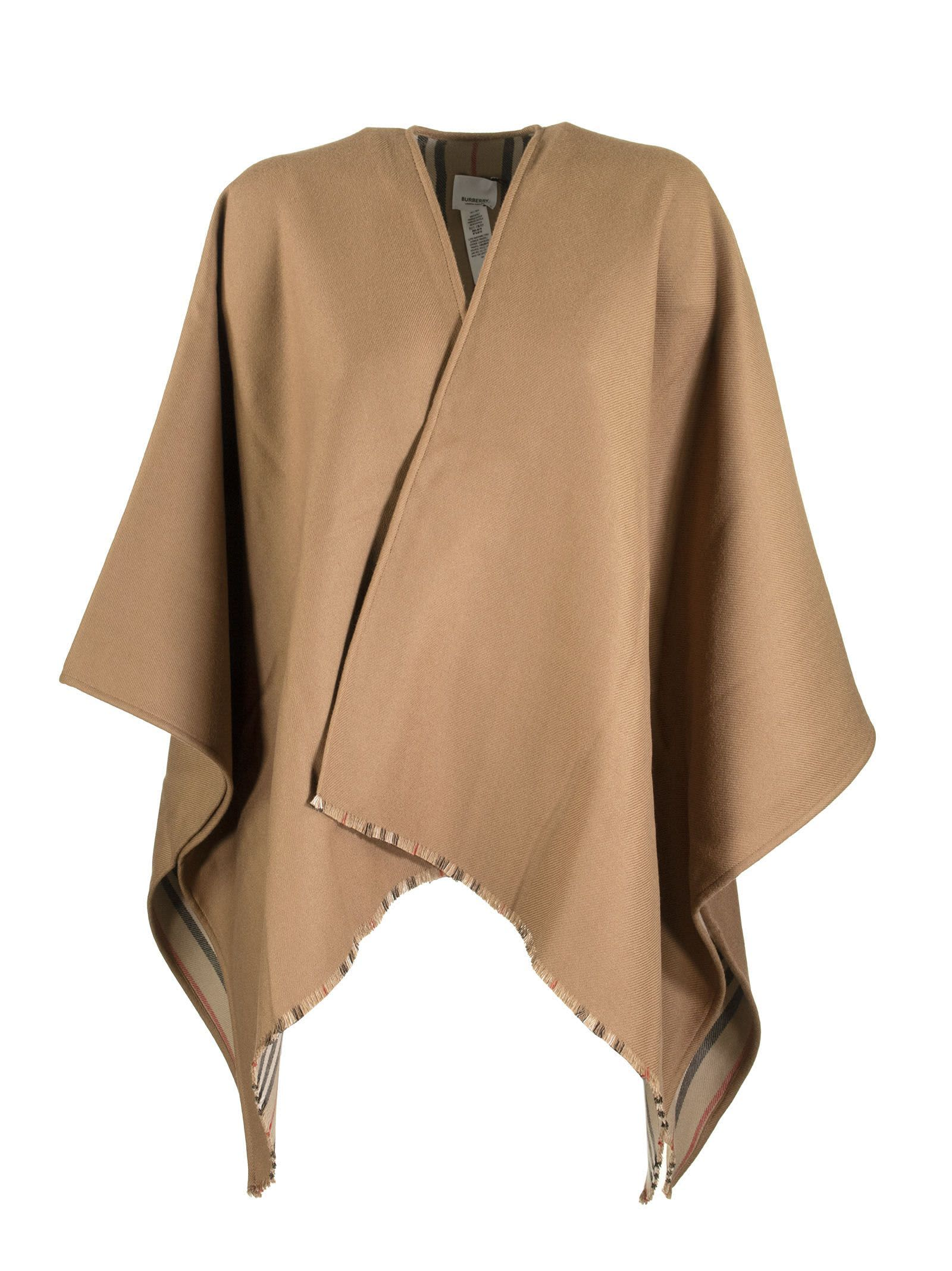 Burberry Wools ICON STRIPE DETAIL WOOL CAPE