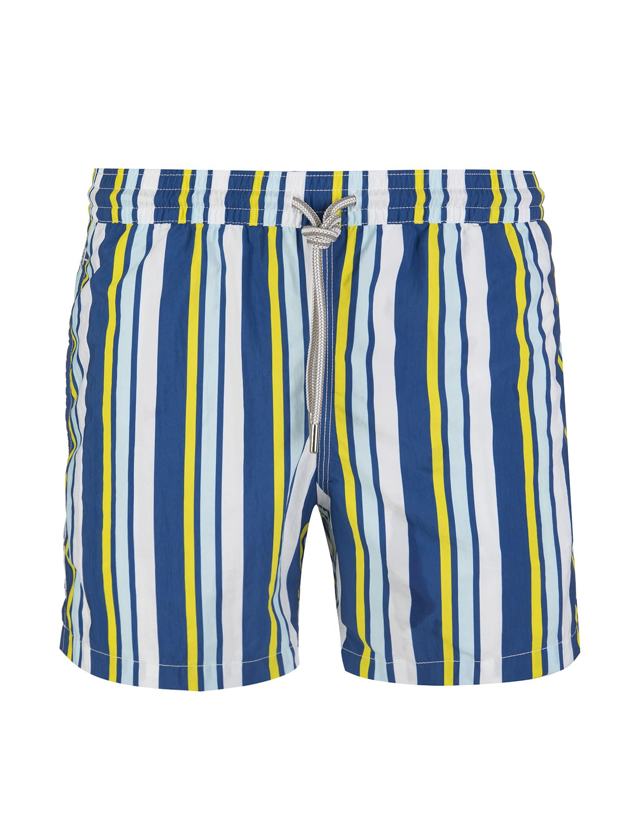 White Swimsuit With Yellow And Blue Stripes