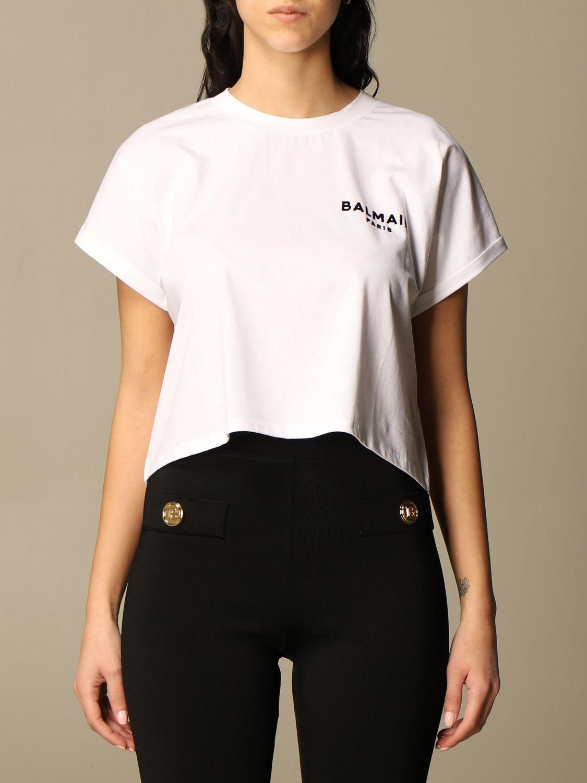 Balmain Cropped Cotton T-shirt With Logo In White