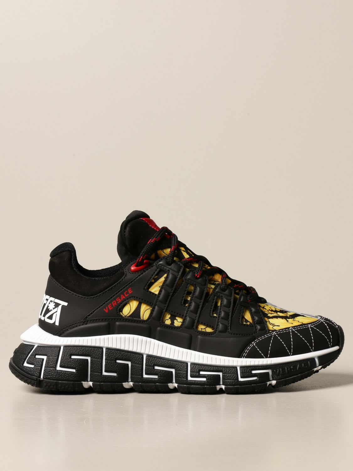 Buy Versace Sneakers Chain Reaction Versace Sneakers In Leather And Baroque Canvas online, shop Versace shoes with free shipping