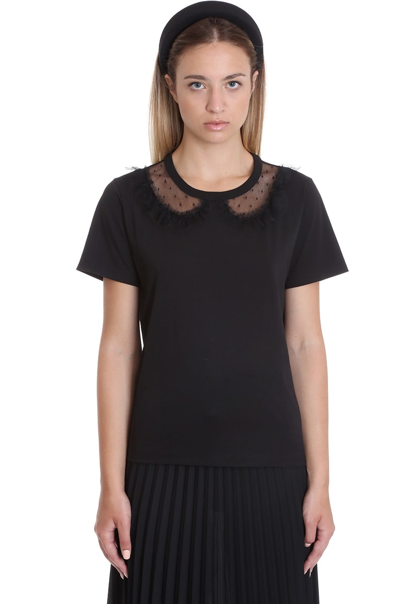 T-Shirt in black cotton, round neck, short sleeves, tulle detail, Model is 180 cm and wear a size SComposition: Cotton