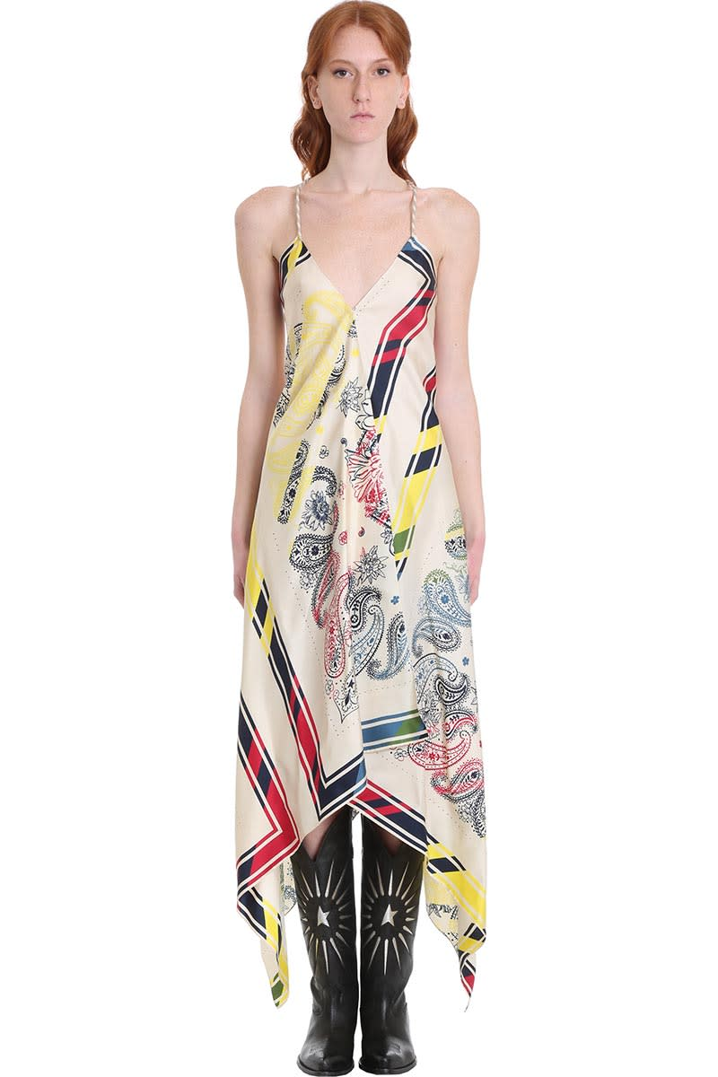 Buy Golden Goose Blancket Dress In White Silk online, shop Golden Goose with free shipping