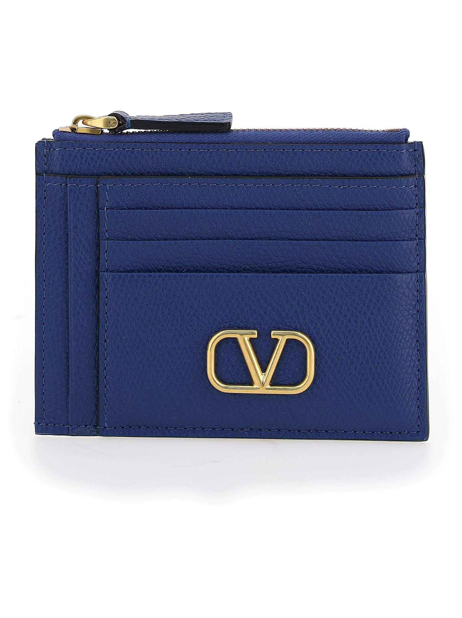 Valentino Garavani Card Holder In Blu Delft