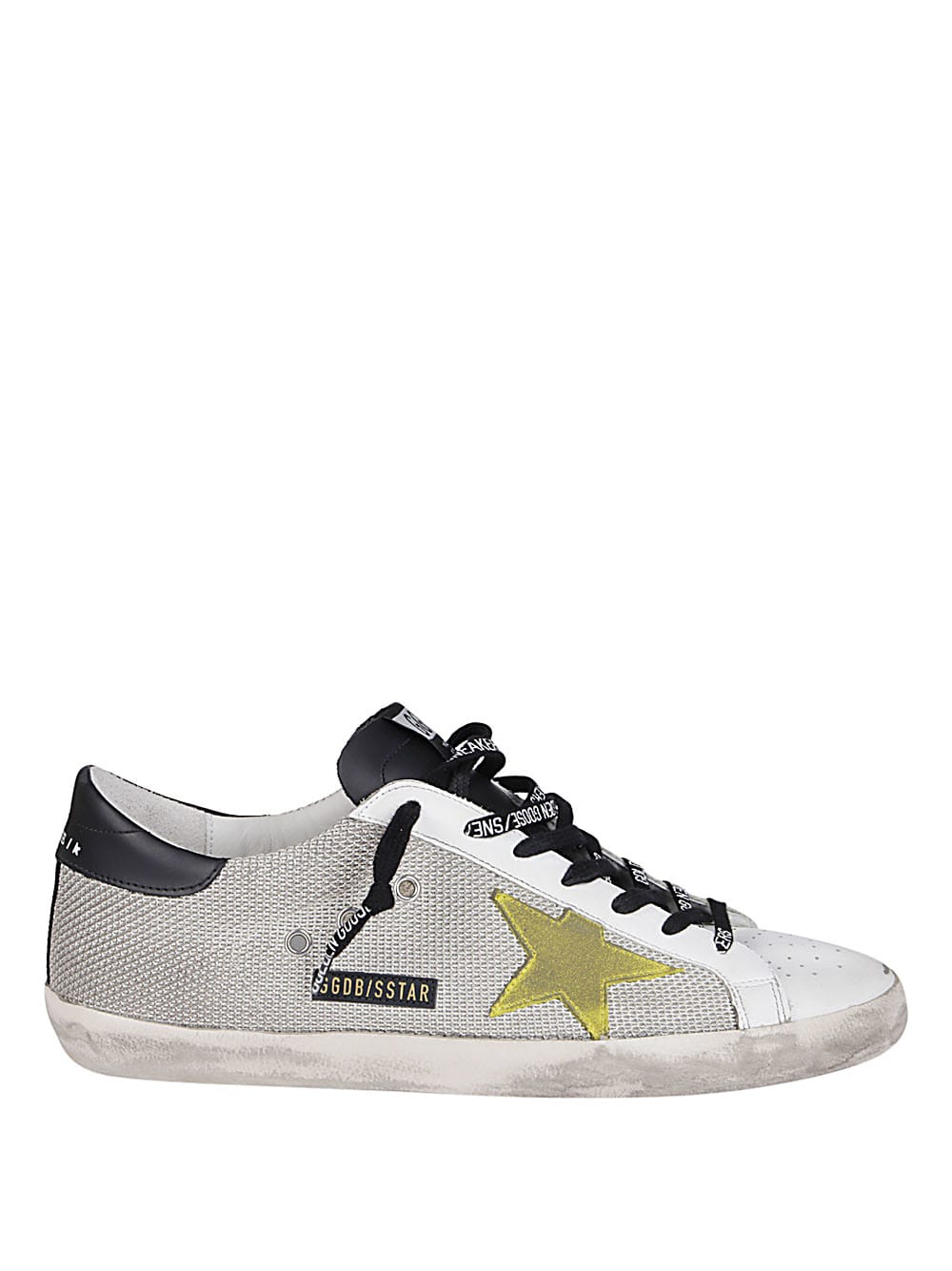 Golden Goose GREY NET AND WHITE LEATHER SUPER-STAR SNEAKERS