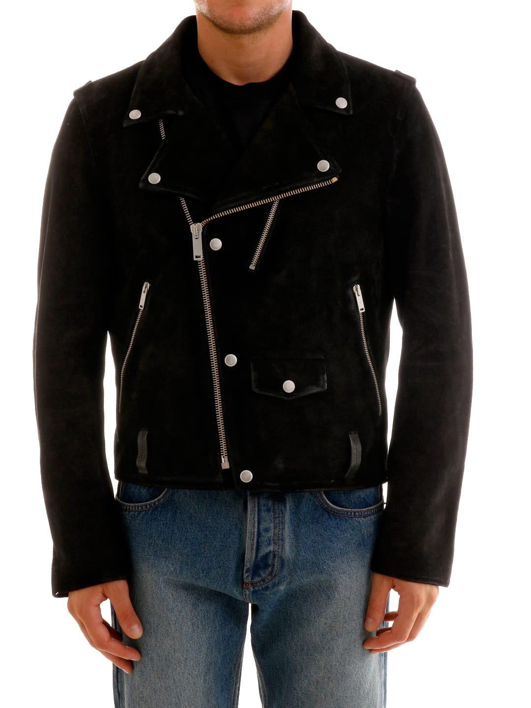 Black leather jacket with oblique zip closure. The model is 1. 85 cm tall and wears size 48Composition: 100% Leather