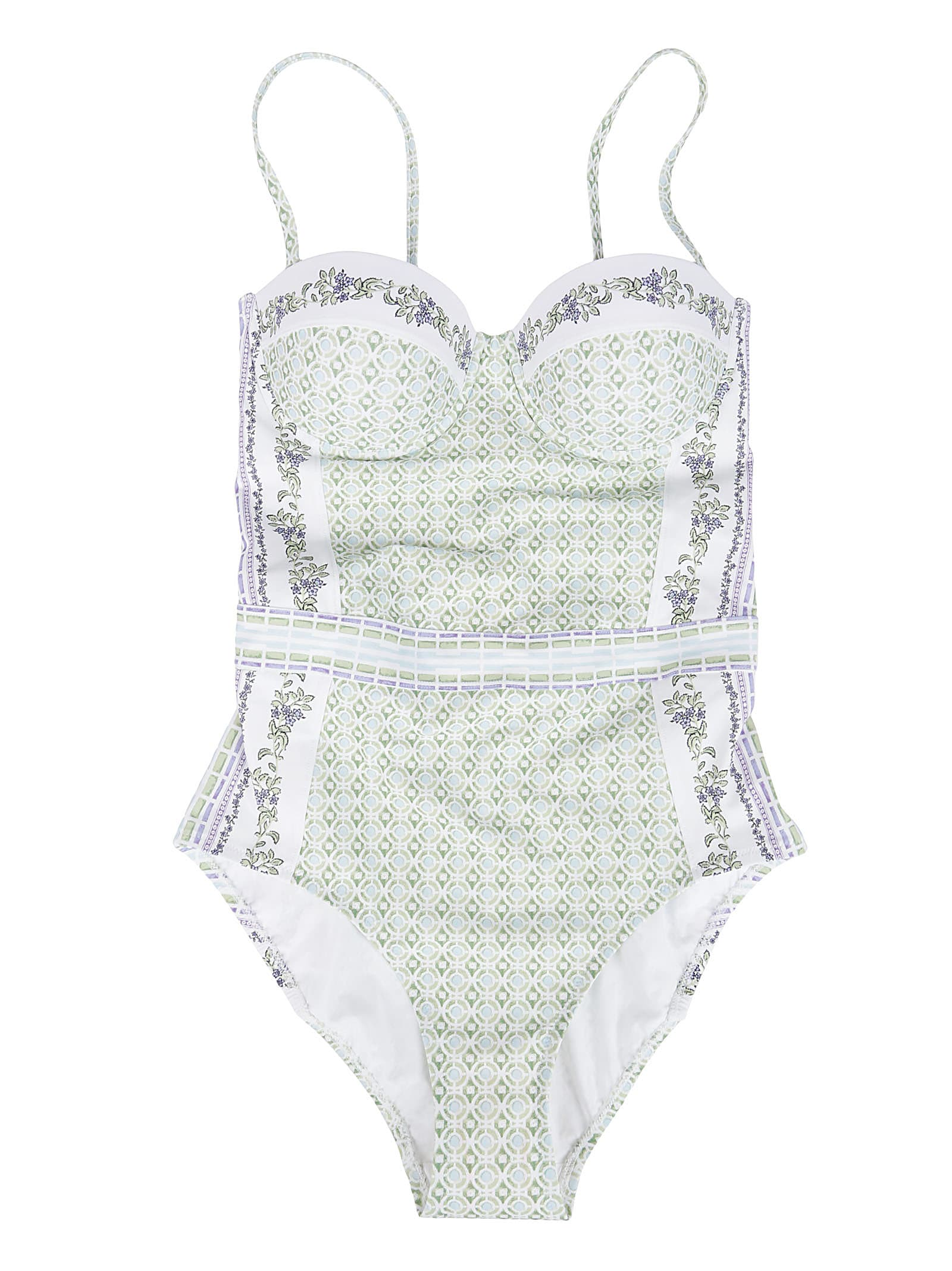 Tory Burch One-pieces GREEN AND LIGHT BLUE BODYSUIT
