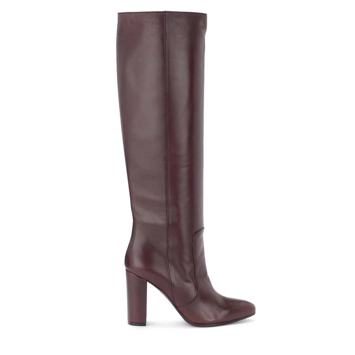 Via Roma 15 High Tube Boot In Burgundy Color In Smooth Leather