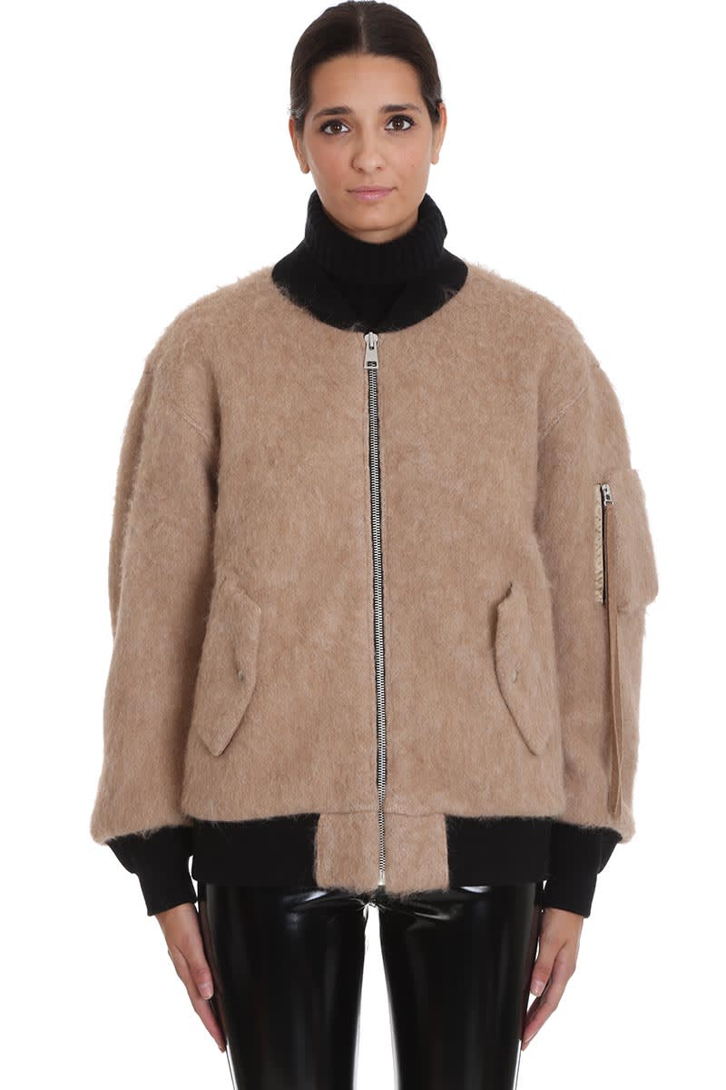 Laneus Bomber In Beige Wool