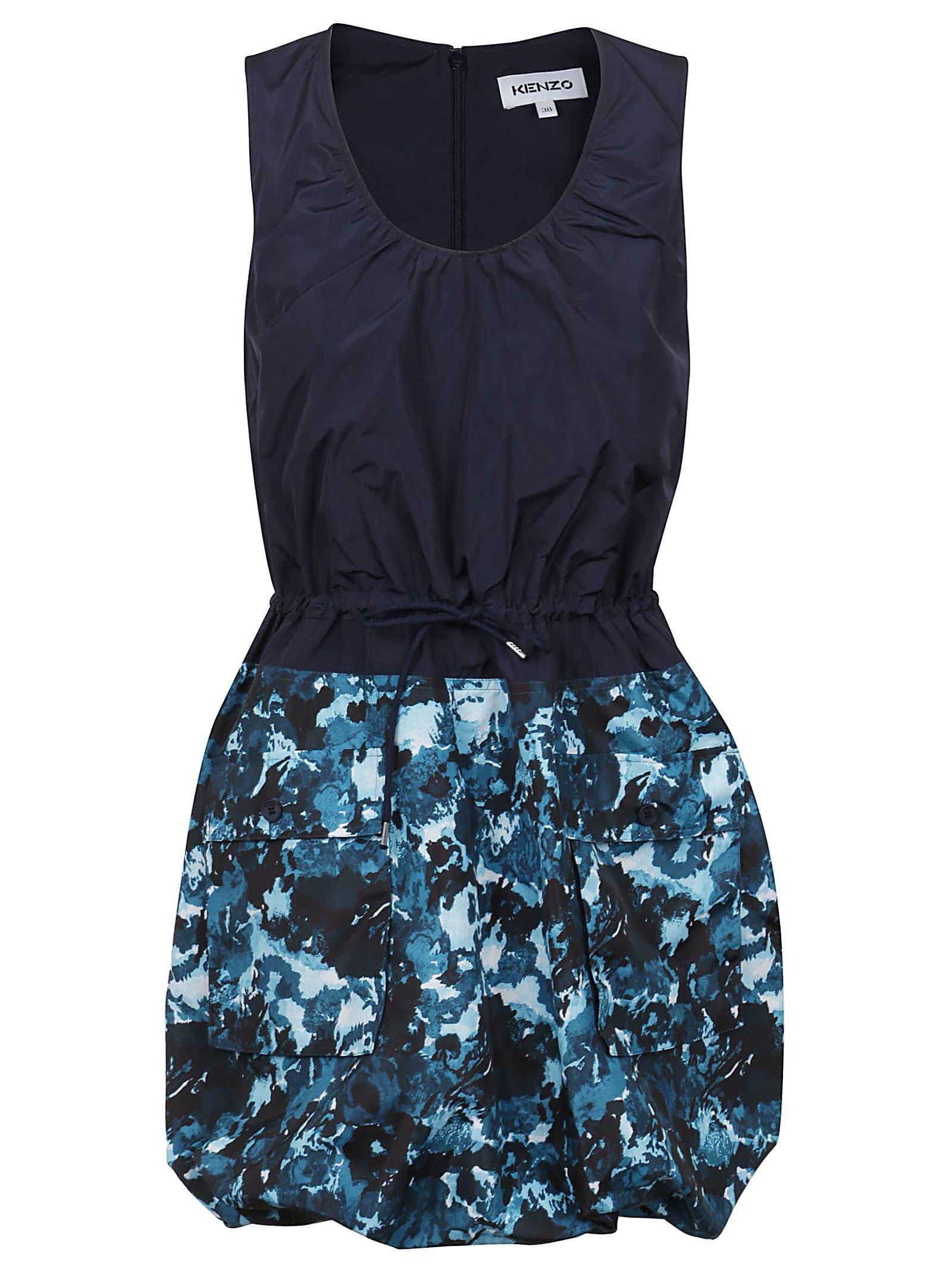 Kenzo Sleeveless Dress Mixed Fabric
