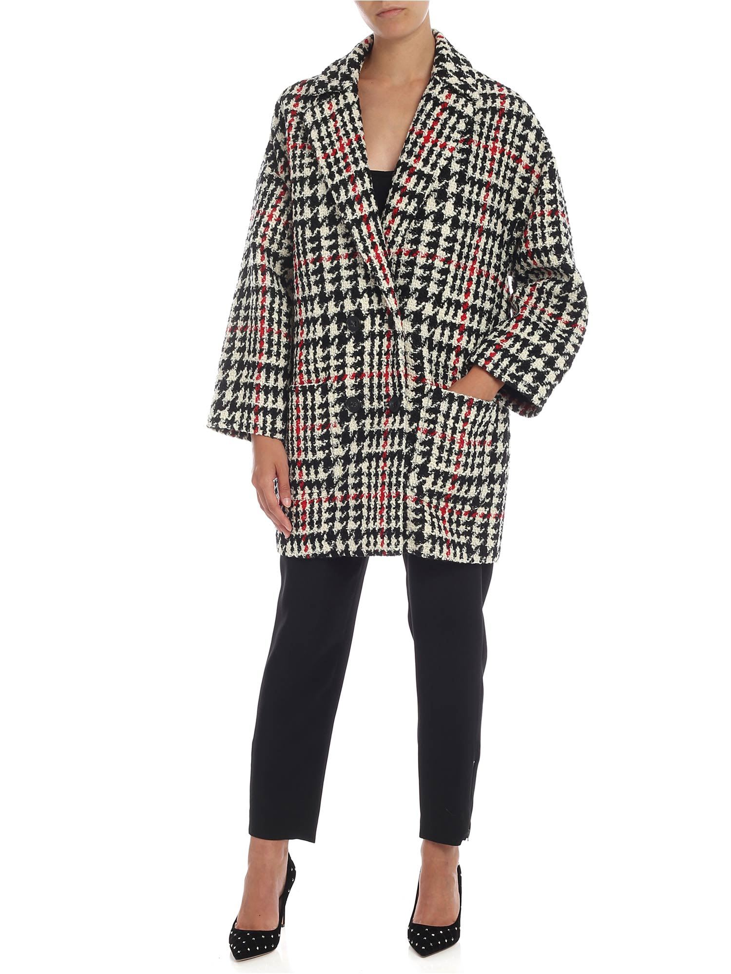 RED Valentino Houndstooth Vwool Blend Coat