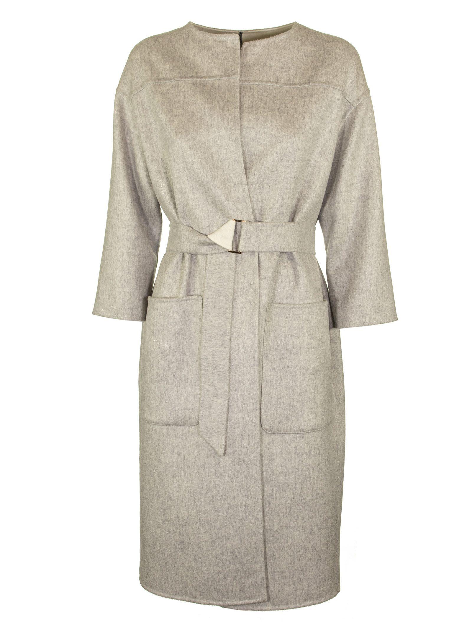 Agnona Cashmere Coat Round Neck