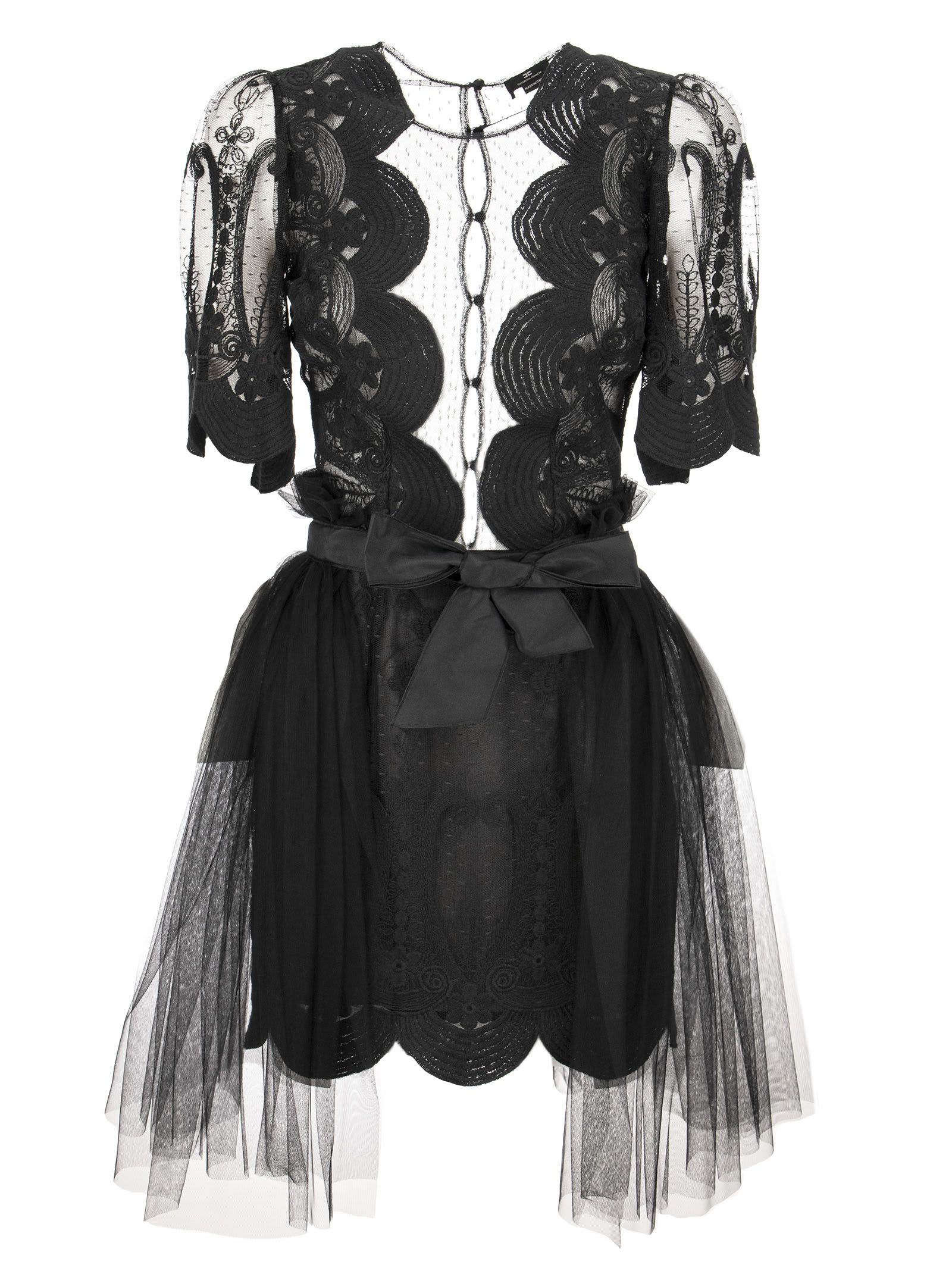Elisabetta Franchi Lace Dress With Short Sleeves