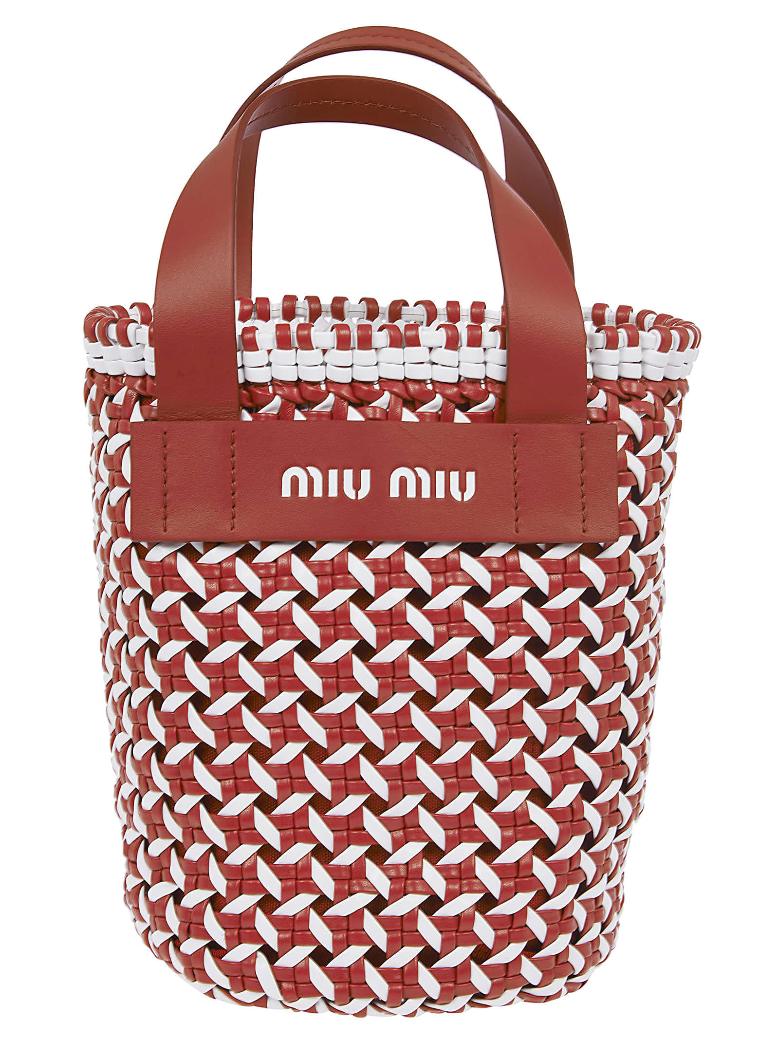 Miu Miu Logo Weaved Tote