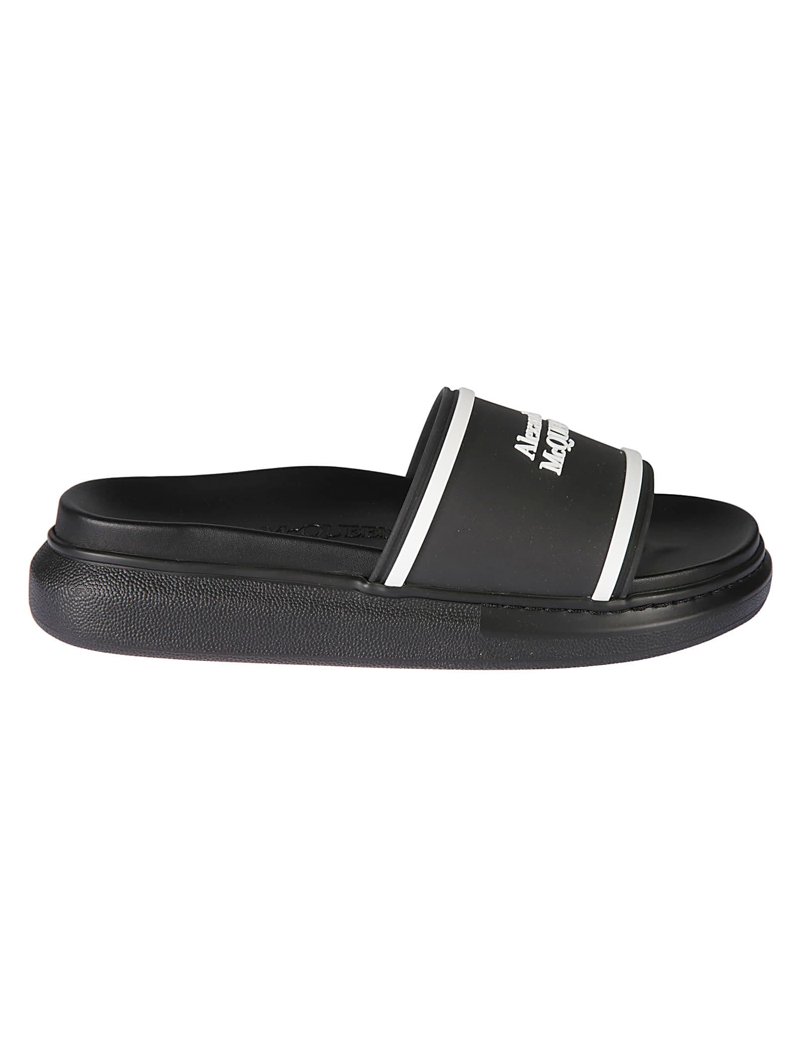 Buy Alexander McQueen Band Sliders online, shop Alexander McQueen shoes with free shipping