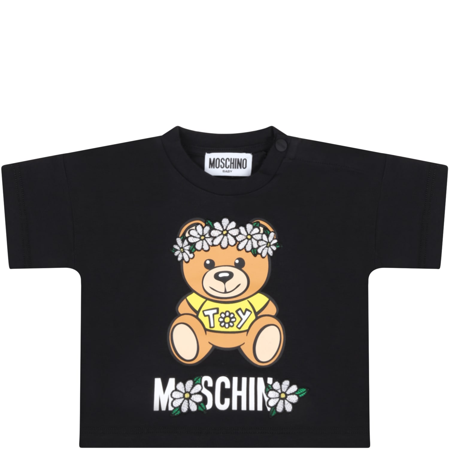 Moschino Tops BLACK T-SHIRT FOR BABYGIRL WITH TEDDY BEAR