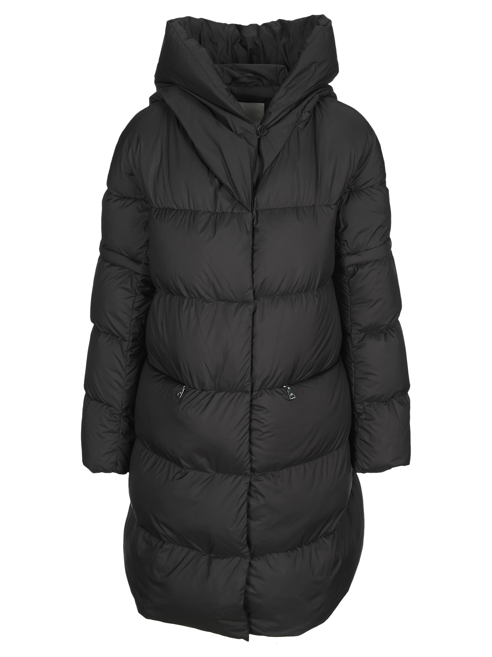 Hooded Long Down Coat With Detachable Sleeves