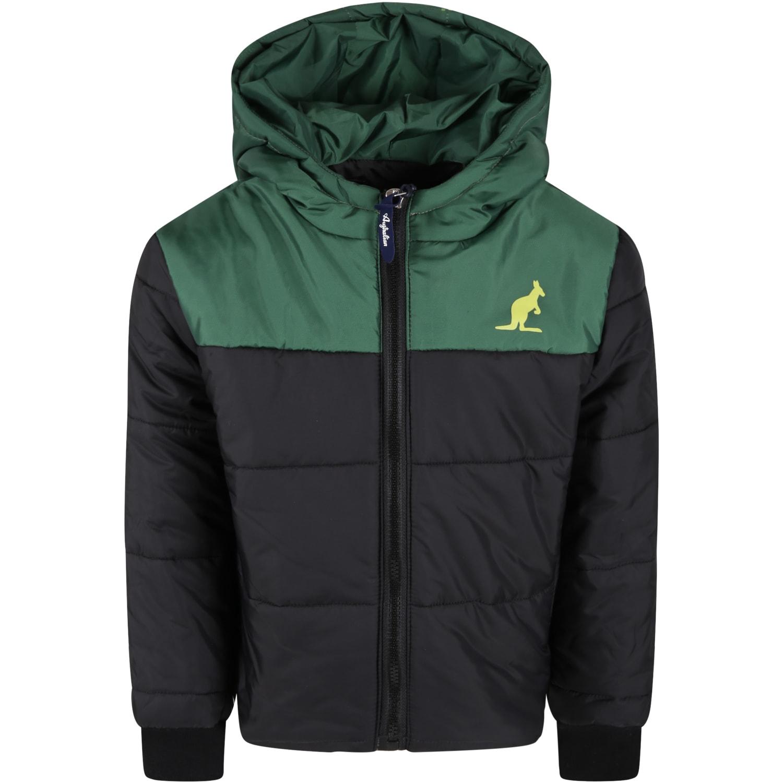 Black Jacket For Kids With Yellow Kangaroo