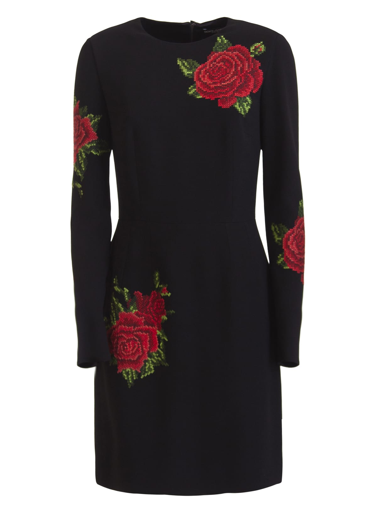 Buy Dolce & Gabbana Short Dress With Rose Embroidery online, shop Dolce & Gabbana with free shipping
