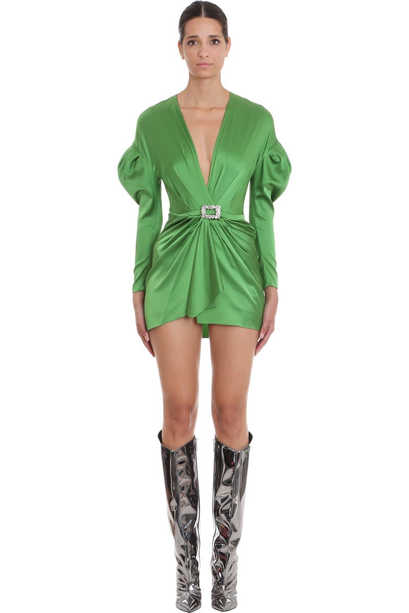 Alexandre Vauthier Dress In Green Silk