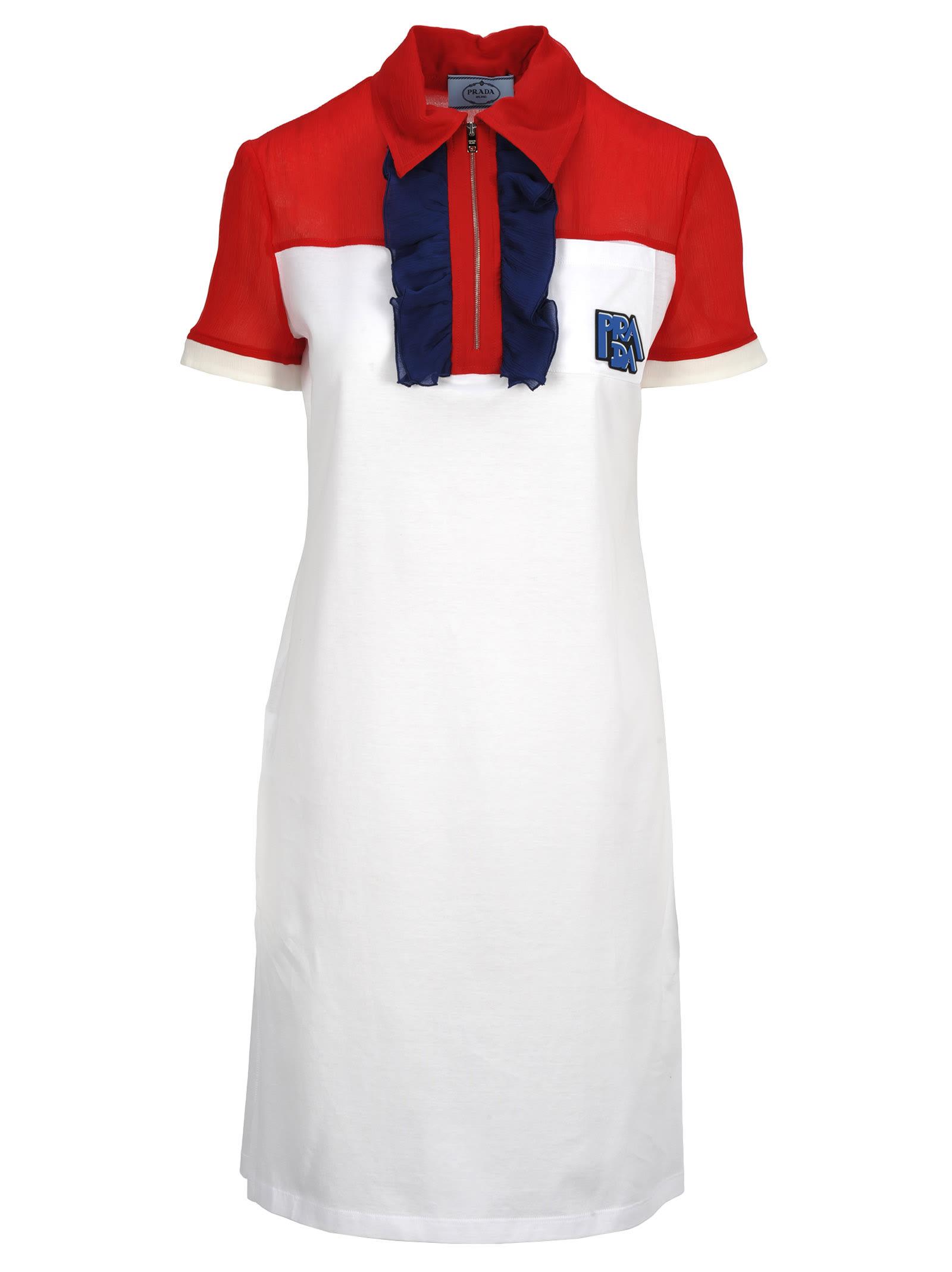 Photo of  Prada Prada Ruffled Polo Shirt Style Dress- shop Prada  online sales
