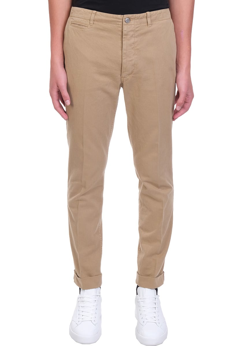 Amos Pants in beige cotton, waist belt loops, button and zip closure, four pockets, lapel, tag logo detail, 100% cotton, model is 187 cm and wears size 48Composition: Cotton