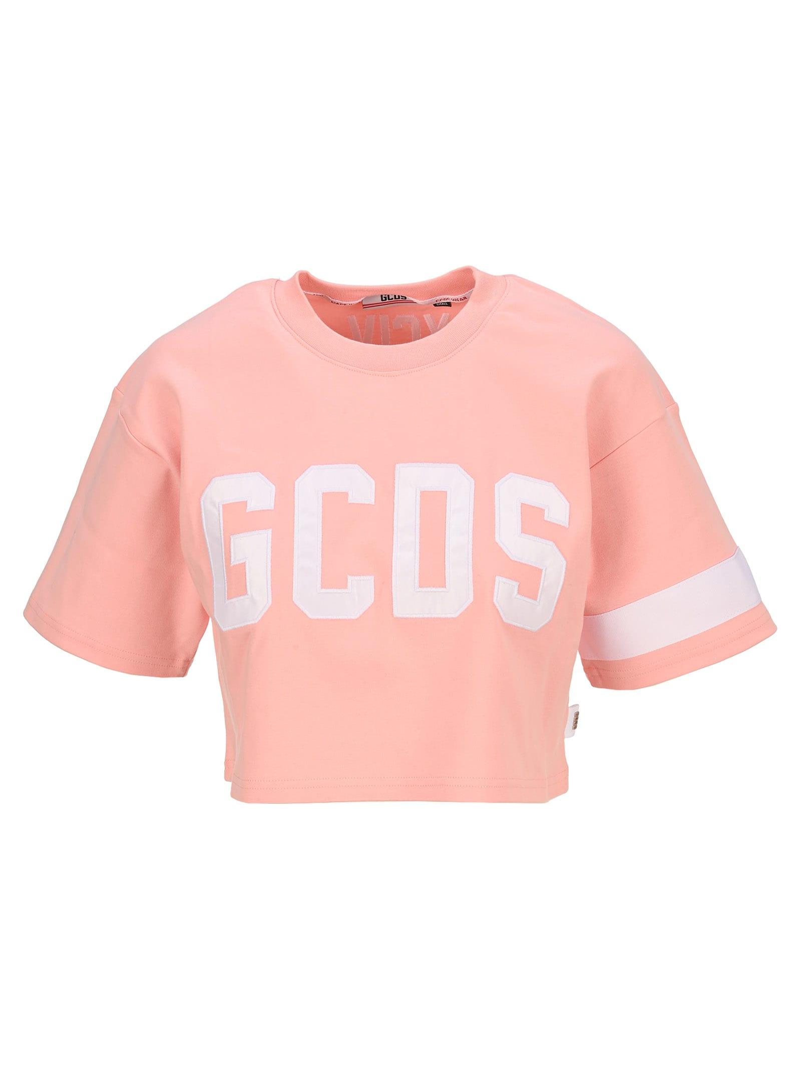 Gcds Crop Logo T-shirt In Pink