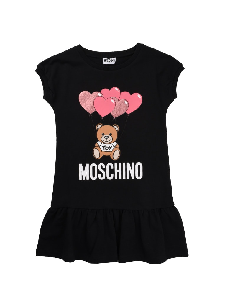 Buy Moschino Black Dress With Bear Print online, shop Moschino with free shipping