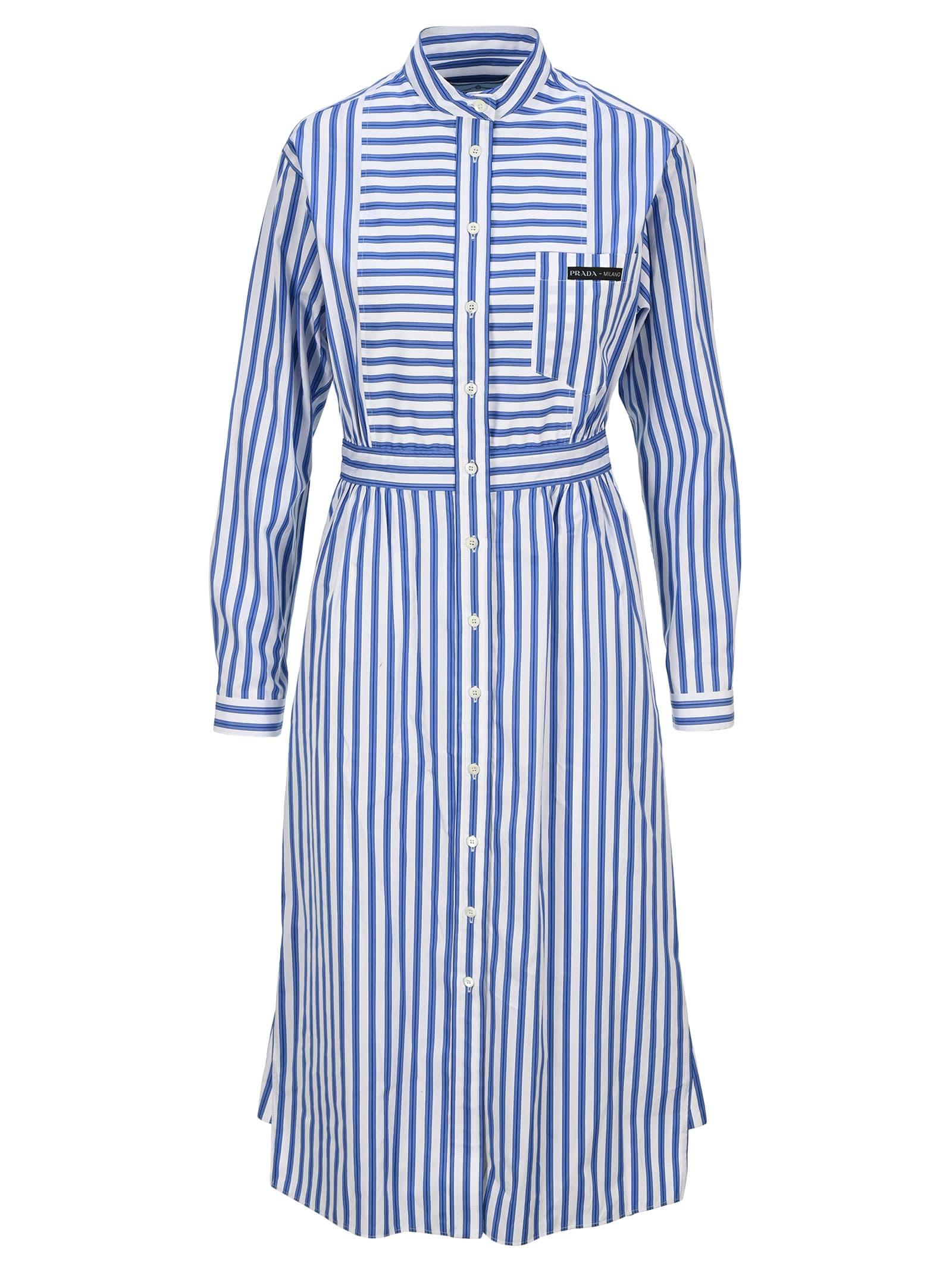 Buy Prada Striped Shirt Dress online, shop Prada with free shipping