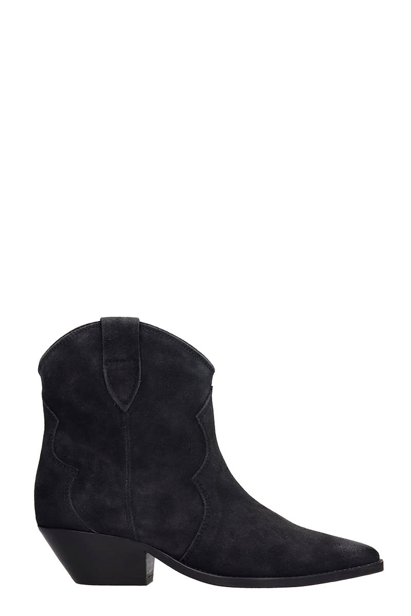 Buy Isabel Marant Dewina Texan Ankle Boots In Black Suede online, shop Isabel Marant shoes with free shipping