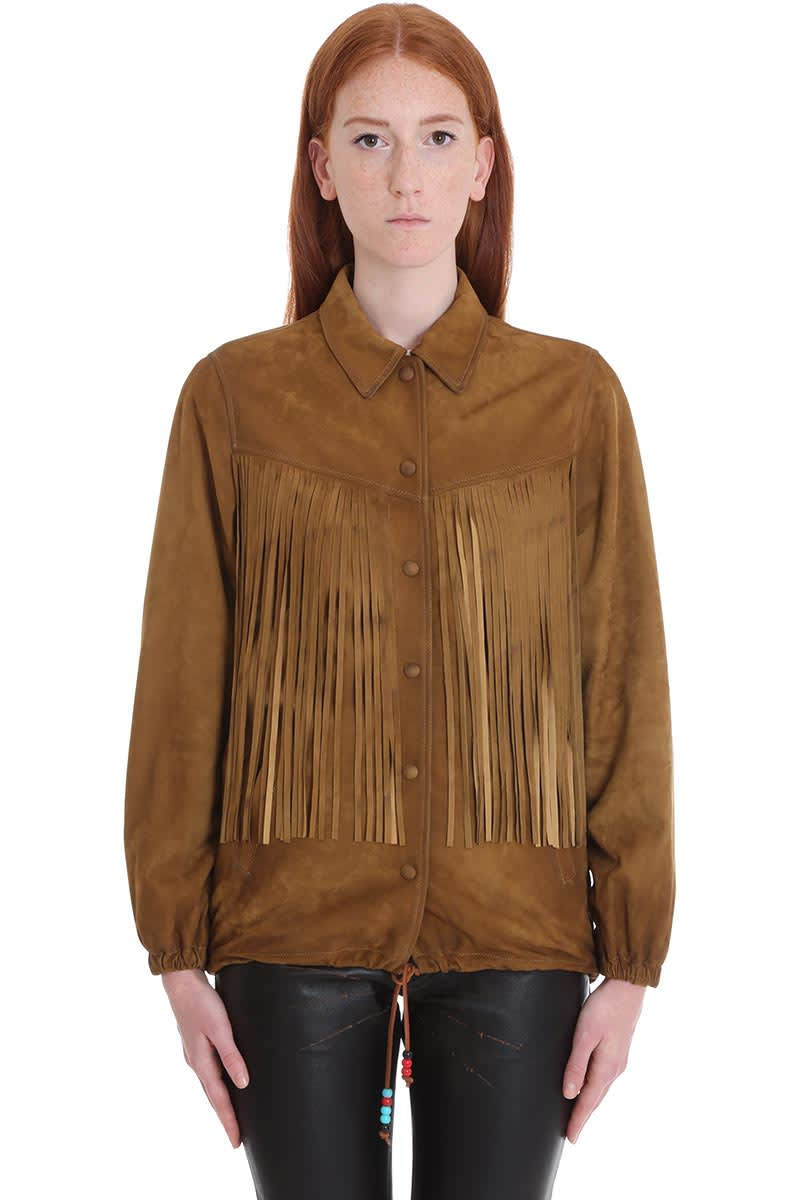 Golden Goose Ayumi Leather Jacket In Brown Suede