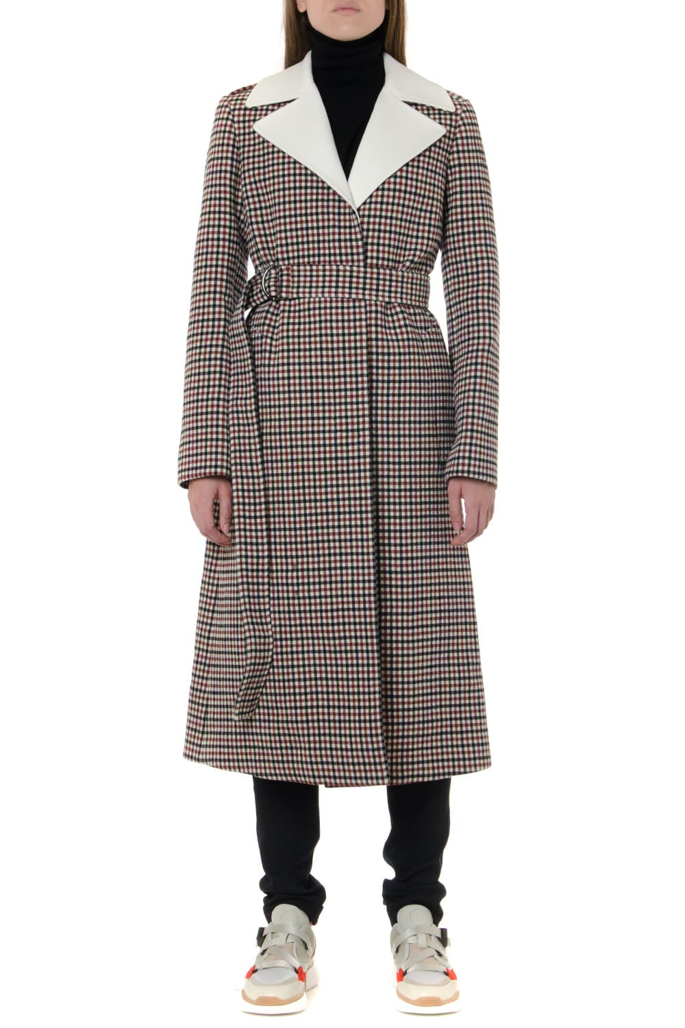 Chloé White & Red Virgin Wool Checked Coat