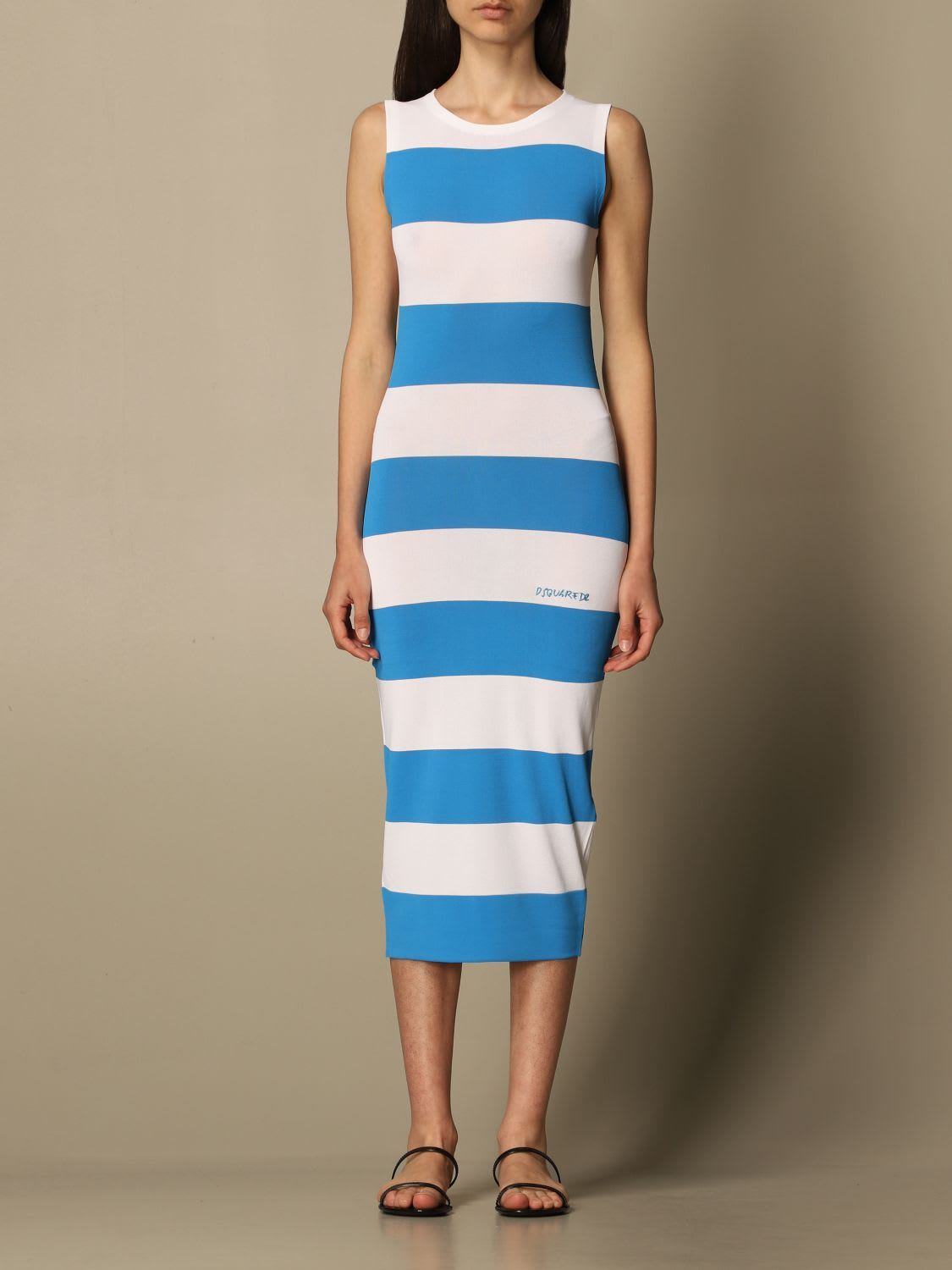 Buy Dsquared2 Dress Dsquared2 Midi Dress In Striped Jersey online, shop Dsquared2 with free shipping