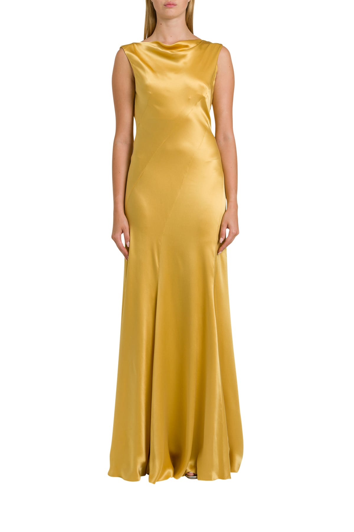 Alberta Ferretti Mermaid Silhouette Dress In Silk Satin