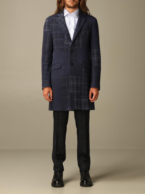 Etro Coat Etro Coat In Patchwork Check Wool