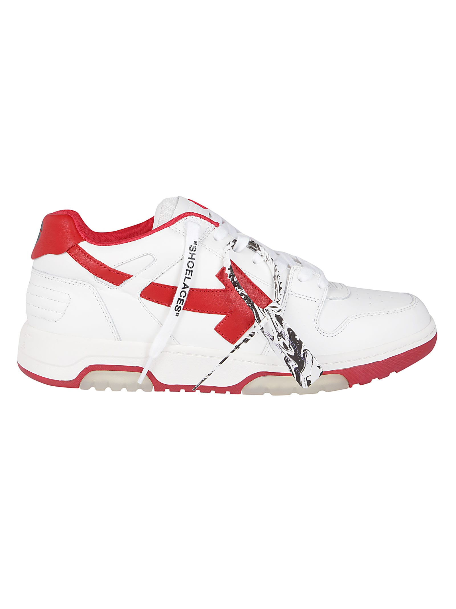 Off-White WHITE AND RED LEATHER OUT OF OFFICE SNEAKERS