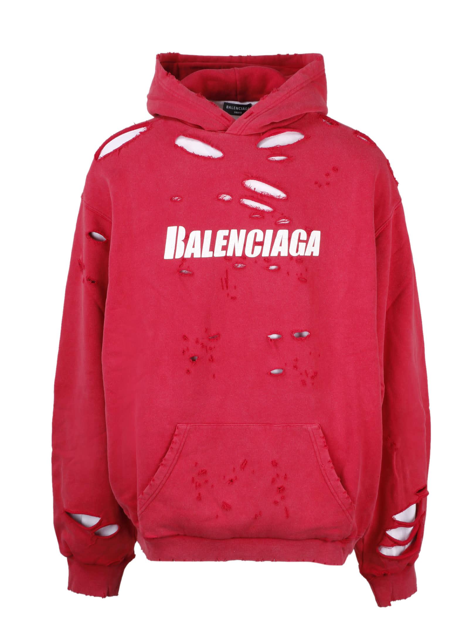Balenciaga Hoodies CAPS DESTROYED HOODIE