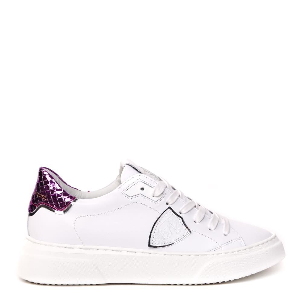 Philippe Model Temple S Sneakers In White And Fuchsia Leather