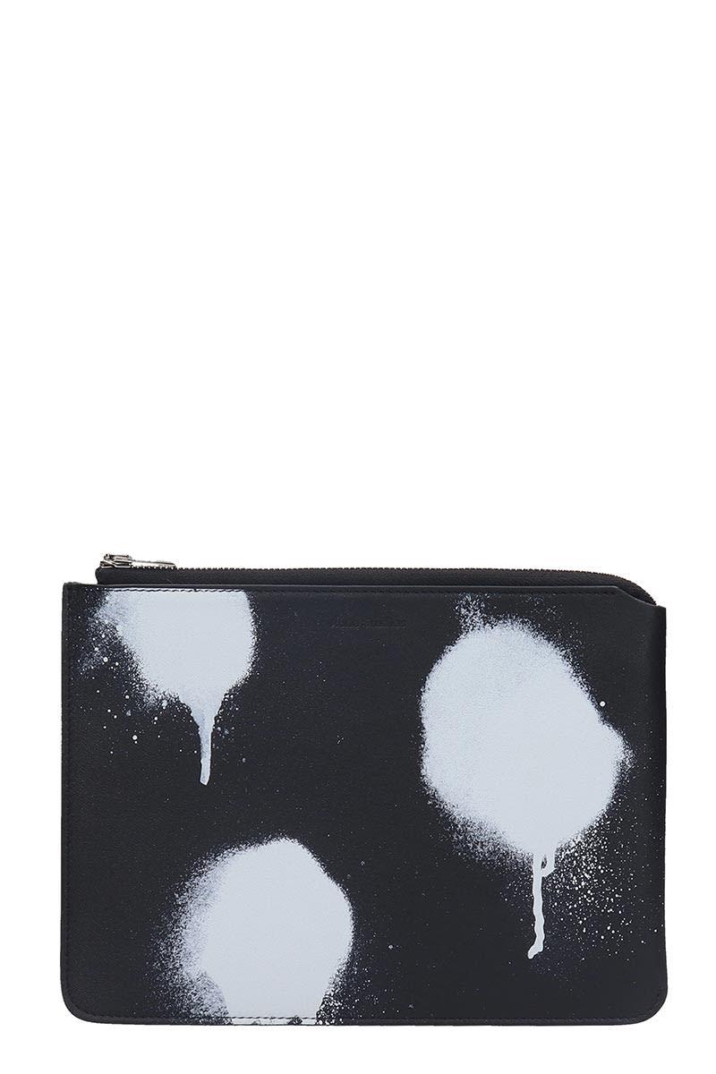 Acne Studios Malachite M Dot Clutch In Black Leather