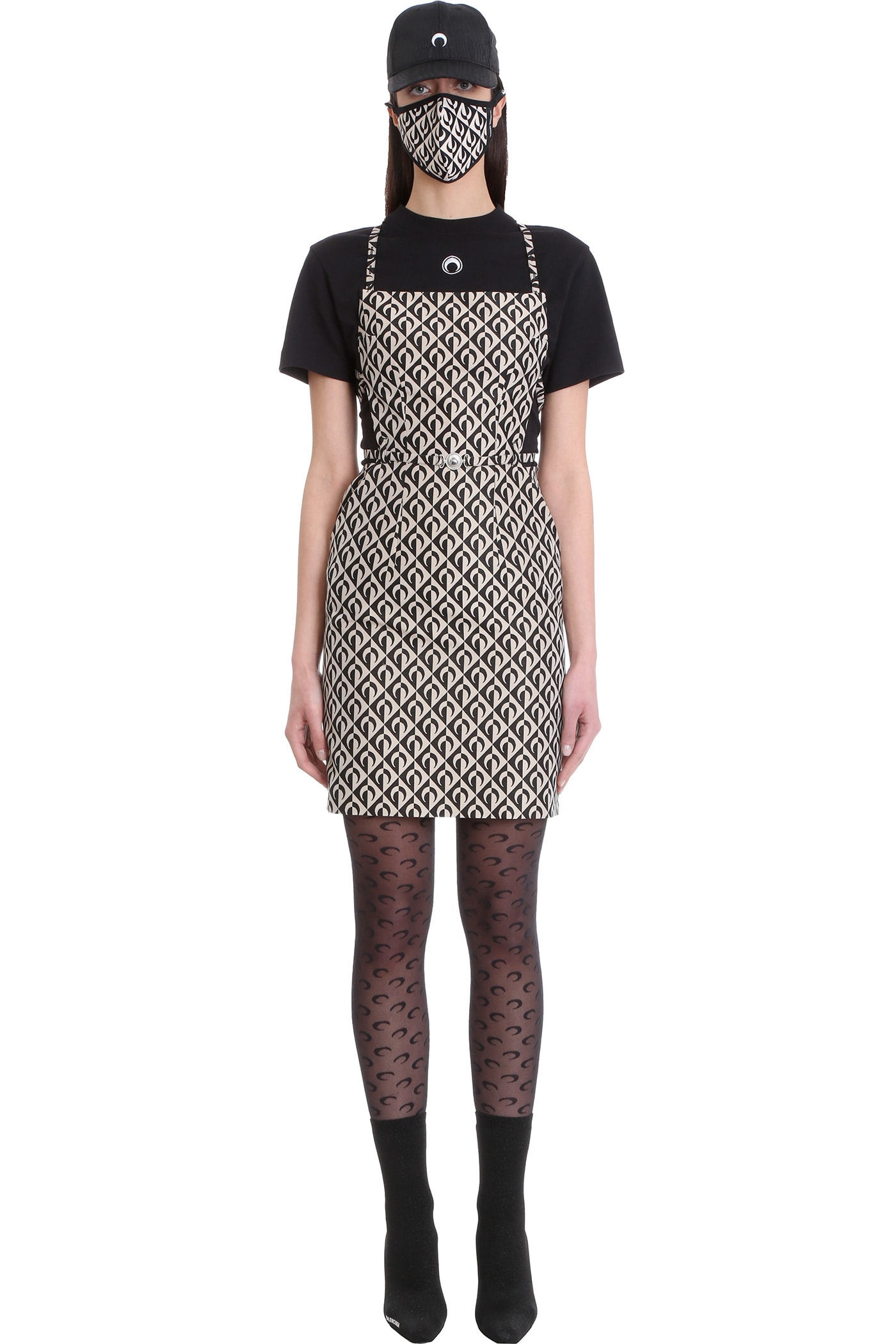 Buy Marine Serre Dress In Beige Cotton online, shop Marine Serre with free shipping