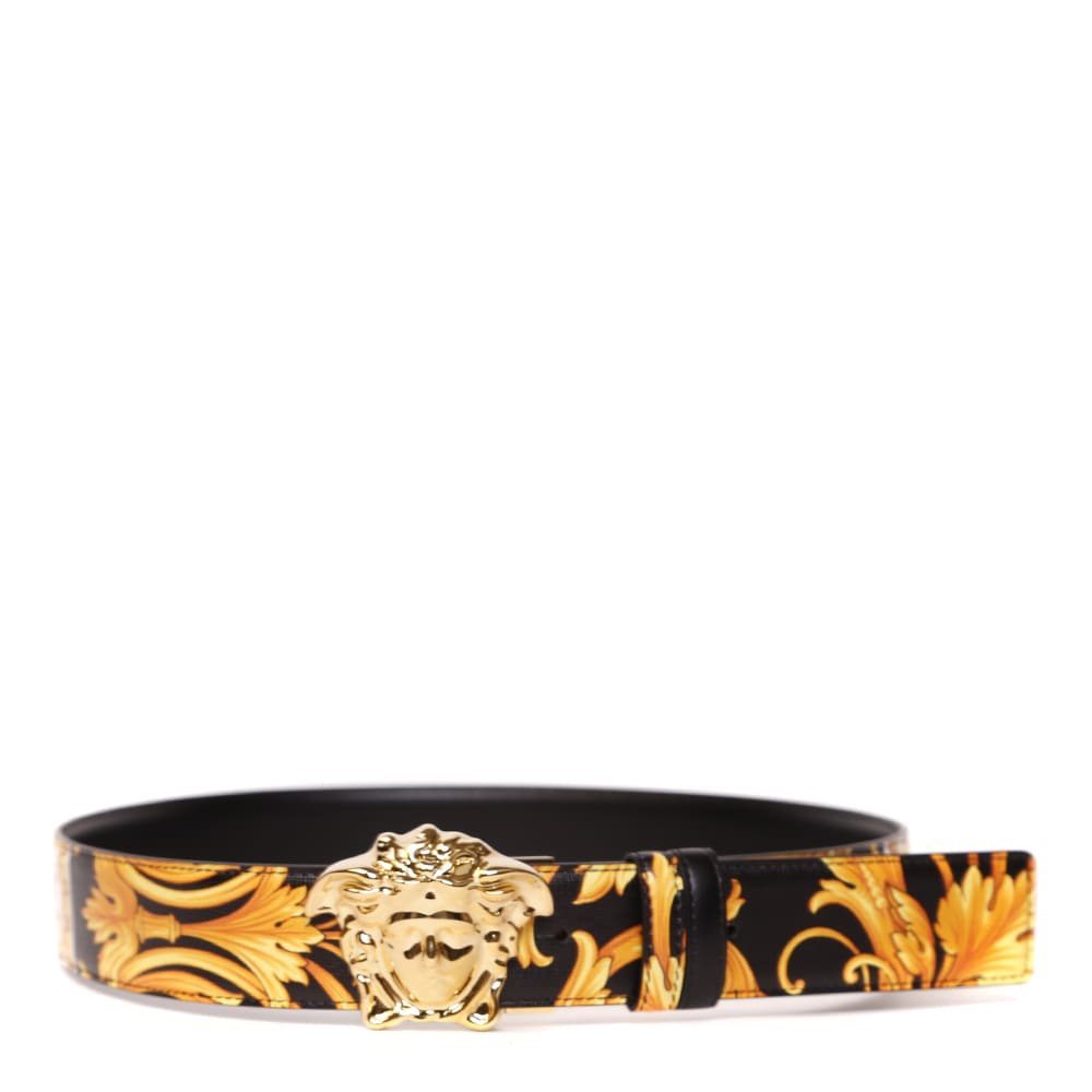 Versace MEDUSA BUCKLE BAROQUE PRINT LEATHER BELT
