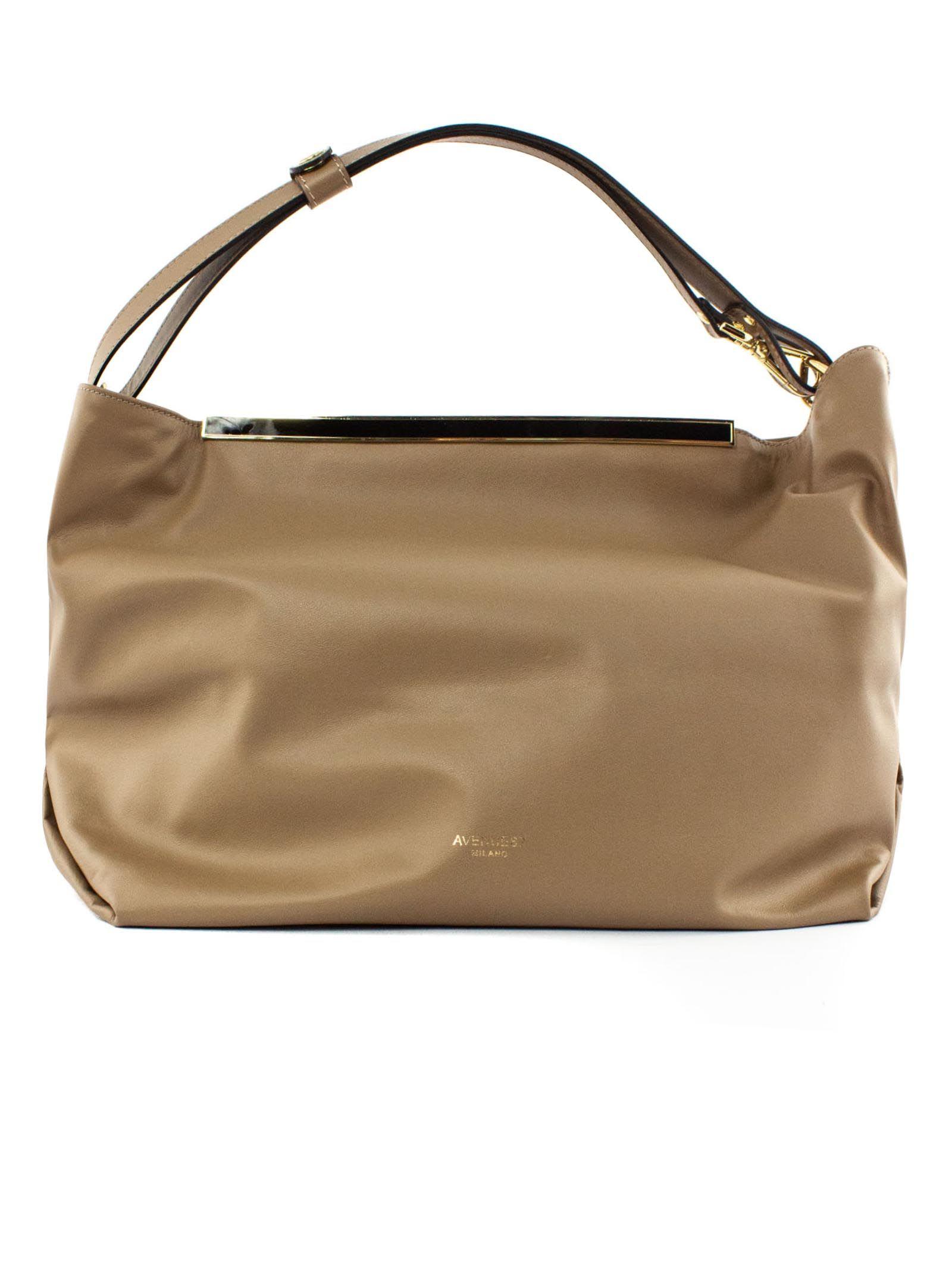 India Shopper In Beige Leather
