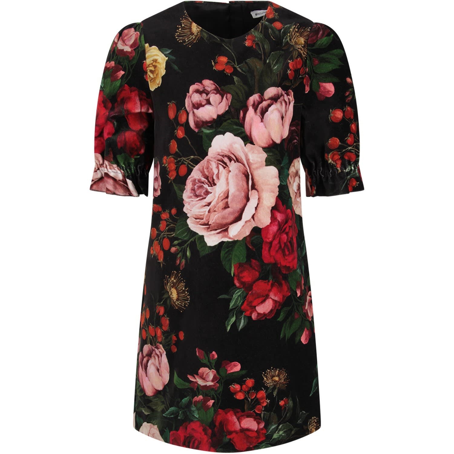 Buy Dolce & Gabbana Black Girl Dress With Colorful Baroque Flowers online, shop Dolce & Gabbana with free shipping