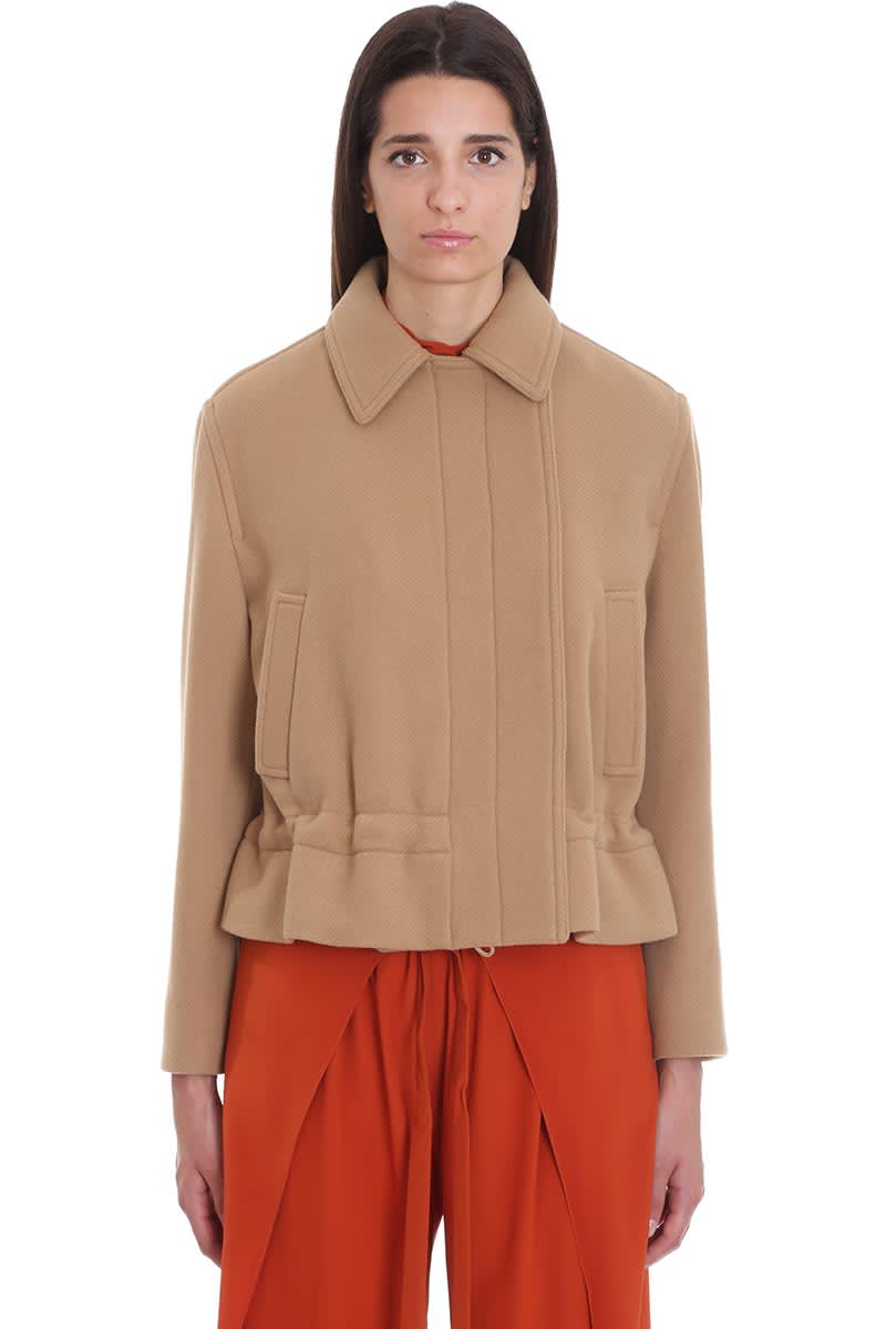 Chloé Coat In Leather Color Wool