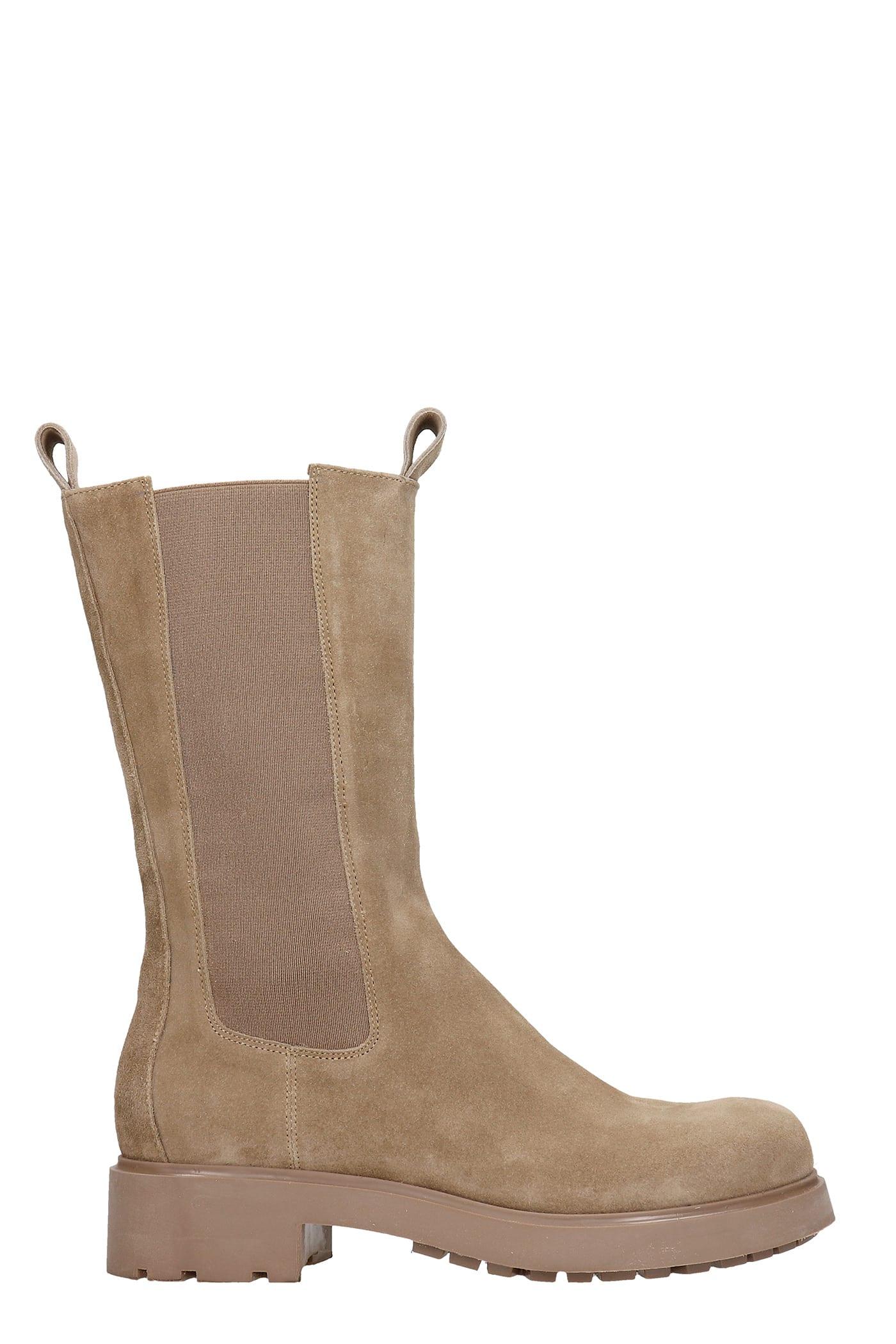 Combat Boots In Beige Suede