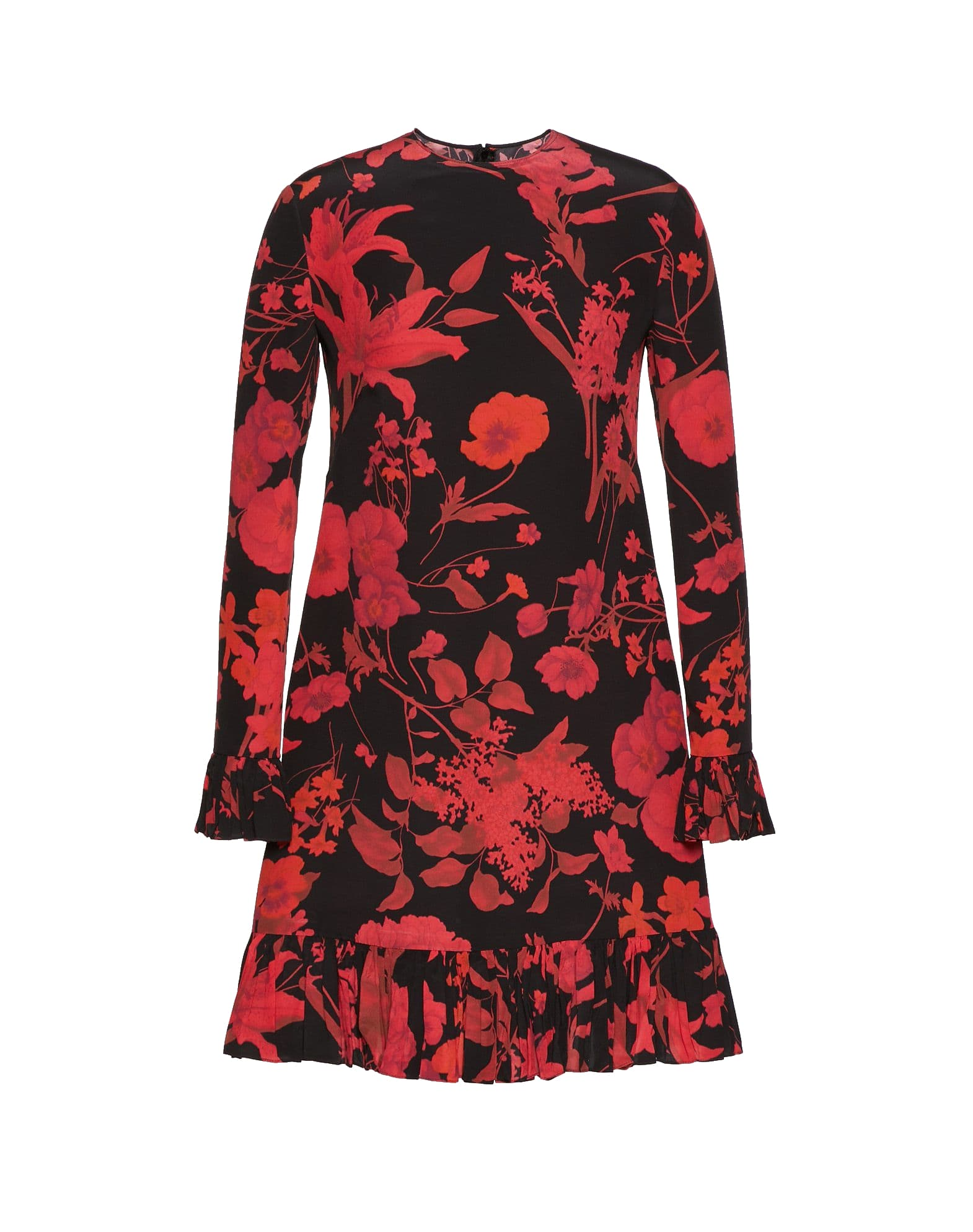 Valentino Short Silk Dress With Logo L & sleeves Flowers Print