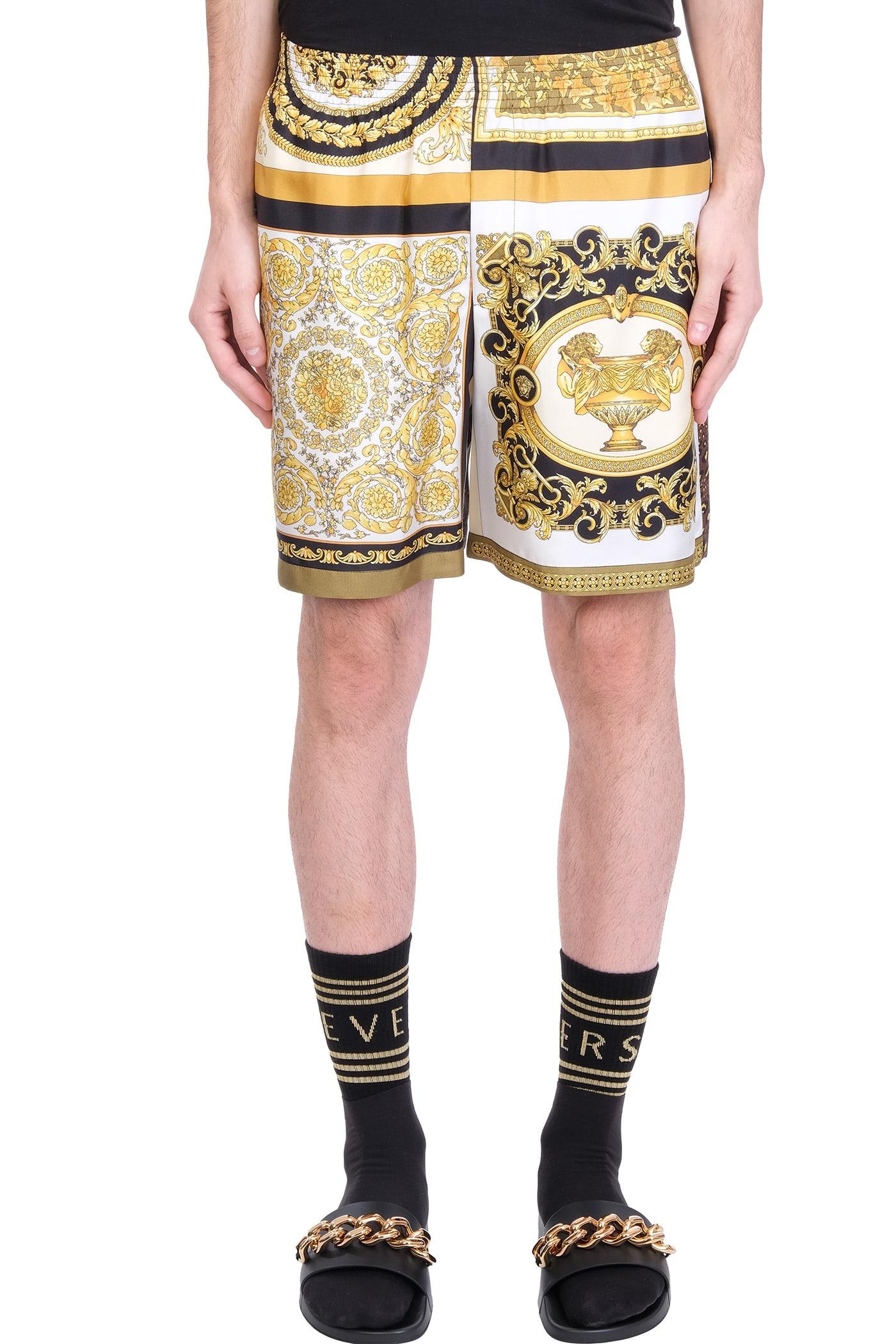 Versace SHORTS IN GOLD SILK